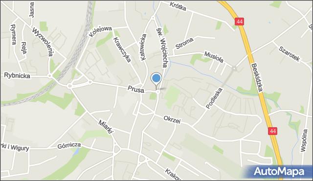 Mikołów, Św. Wojciecha, mapa Mikołów