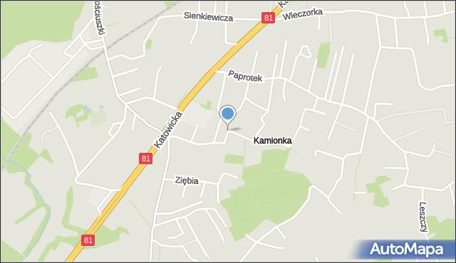Mikołów, Świerkowa, mapa Mikołów