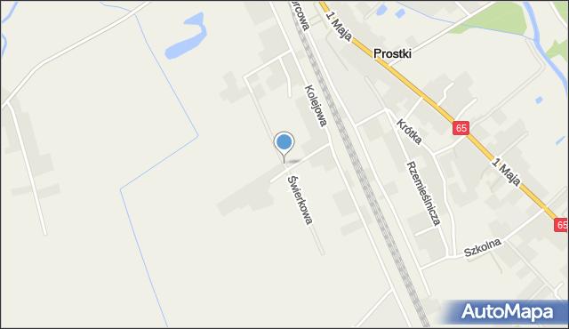 Prostki, Świerkowa, mapa Prostki