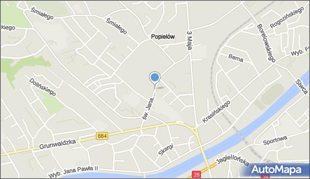 Przemyśl, św. Jana Nepomucena, mapa Przemyśla