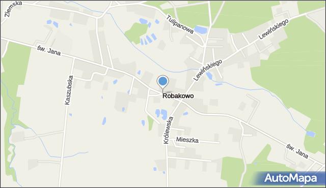 Robakowo gmina Luzino, św. Jana, mapa Robakowo gmina Luzino