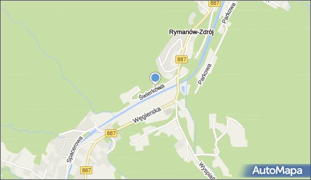 Rymanów-Zdrój, Świerkowa, mapa Rymanów-Zdrój