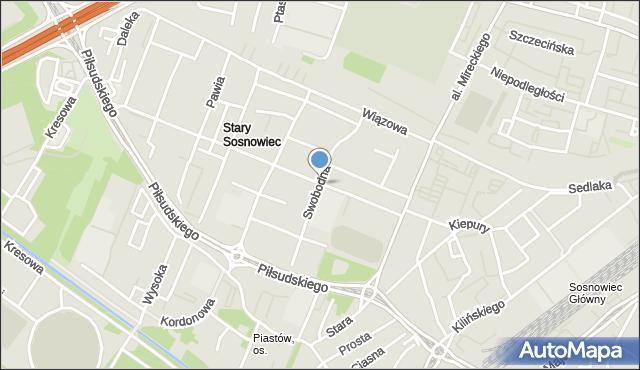 Sosnowiec, Swobodna, mapa Sosnowca