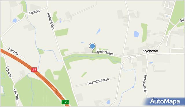 Sychowo, Świerkowa, mapa Sychowo