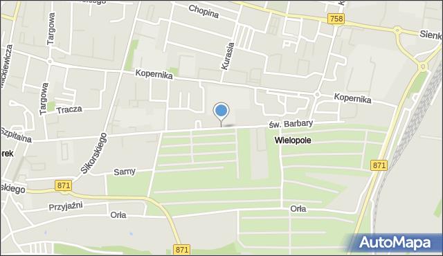Tarnobrzeg, św. Barbary, mapa Tarnobrzegu