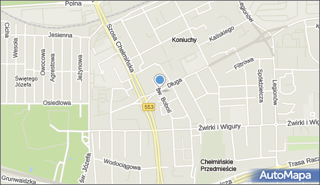 Toruń, św. Andrzeja Boboli, mapa Torunia