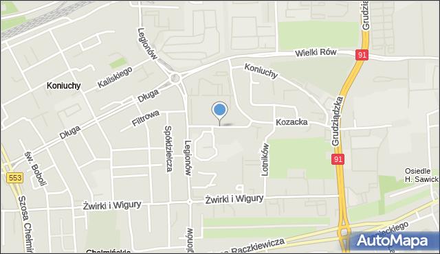 Toruń, św. Faustyny, mapa Torunia
