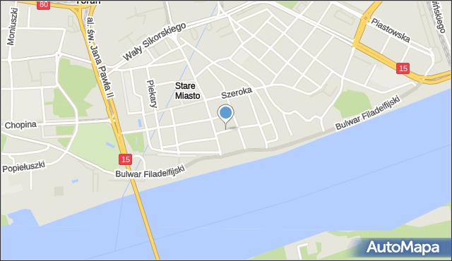 Toruń, św. Jana, mapa Torunia