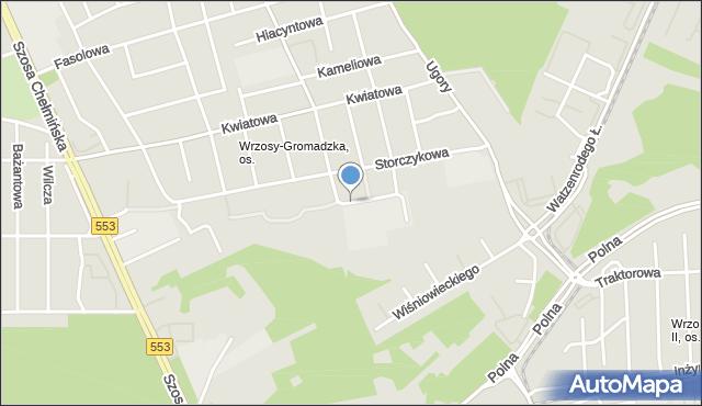 Toruń, św. Jana Bosko, mapa Torunia