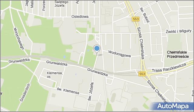 Toruń, św. Józefa, mapa Torunia