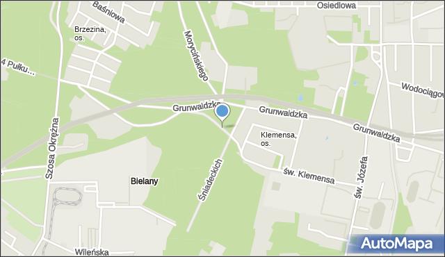 Toruń, św. Klemensa, mapa Torunia