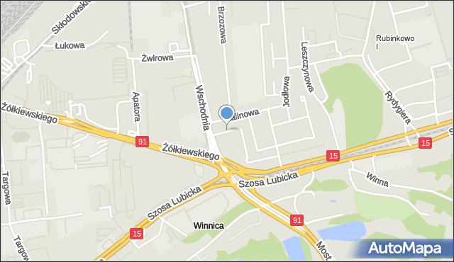 Toruń, Świerkowa, mapa Torunia