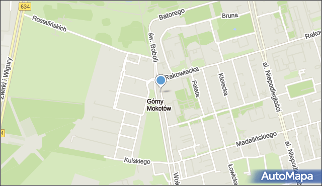 Warszawa, św. Andrzeja Boboli, mapa Warszawy