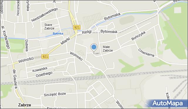 Zabrze, św. Andrzeja Boboli, mapa Zabrza