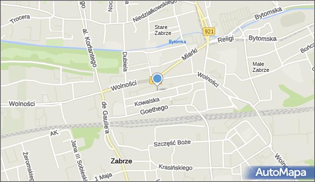 Zabrze, św. Barbary, mapa Zabrza