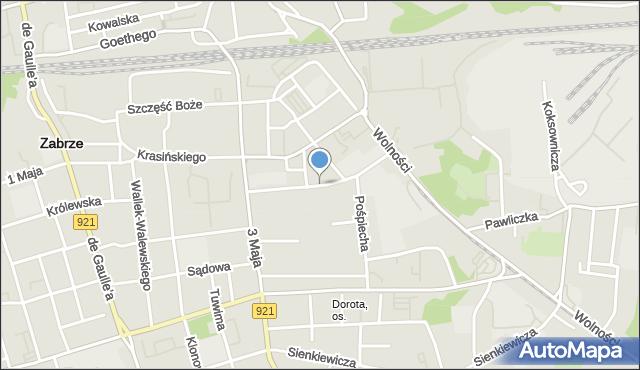 Zabrze, św. Floriana, mapa Zabrza