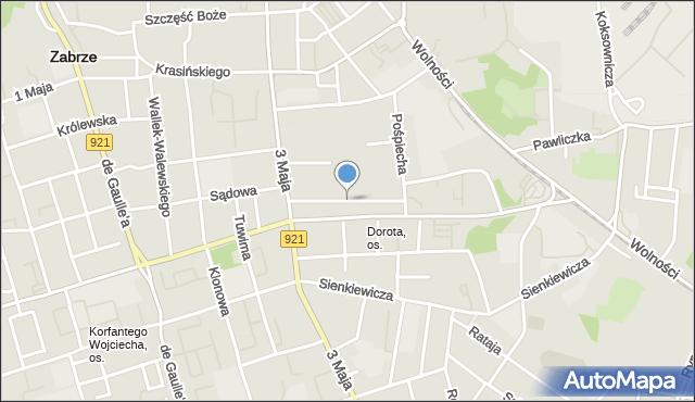 Zabrze, św. Urbana, mapa Zabrza