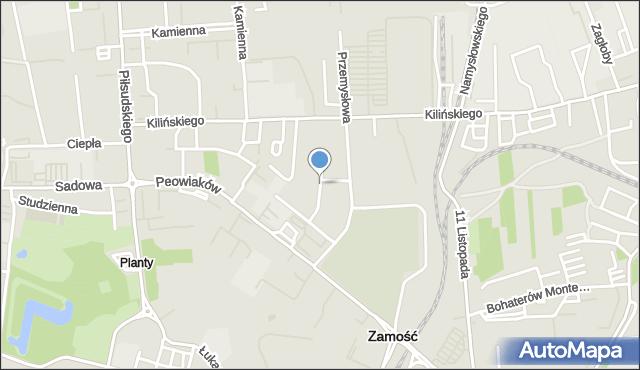 Zamość, Świerkowa, mapa Zamościa