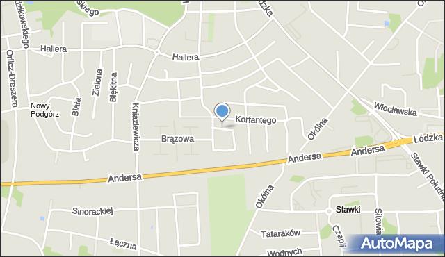 Toruń, Sygnałowa, mapa Torunia