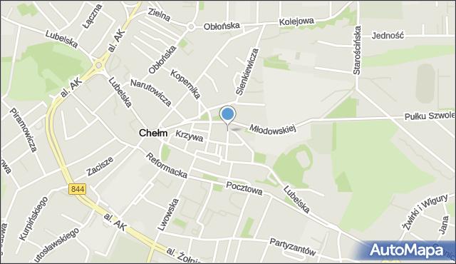 Chełm, Szkolna, mapa Chełma