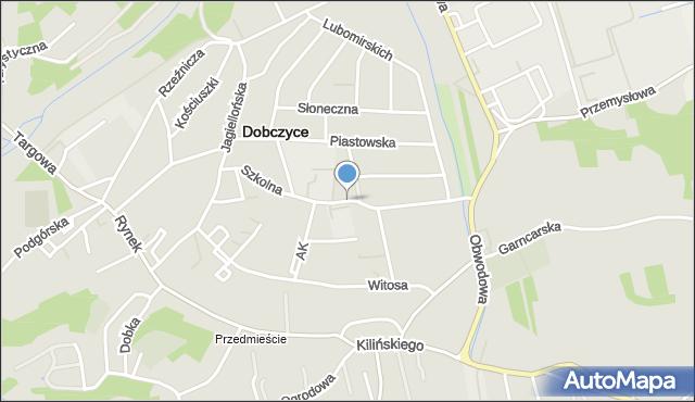 Dobczyce, Szkolna, mapa Dobczyce