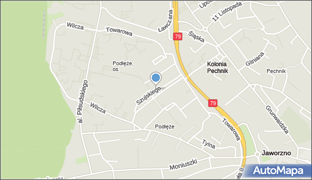 Jaworzno, Szujskiego Józefa, mapa Jaworzno