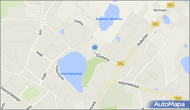 Kętrzyn, Szpitalna, mapa Kętrzyn