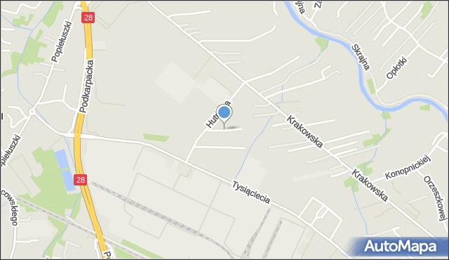 Krosno, Szklana, mapa Krosna