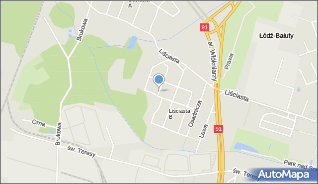 Łódź, Szwajcera Abrahama, mapa Łodzi