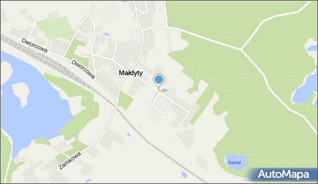Małdyty, Szkolna, mapa Małdyty