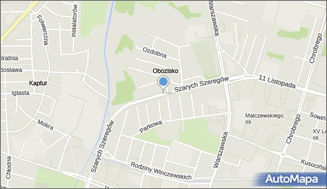 Radom, Szarych Szeregów, mapa Radomia
