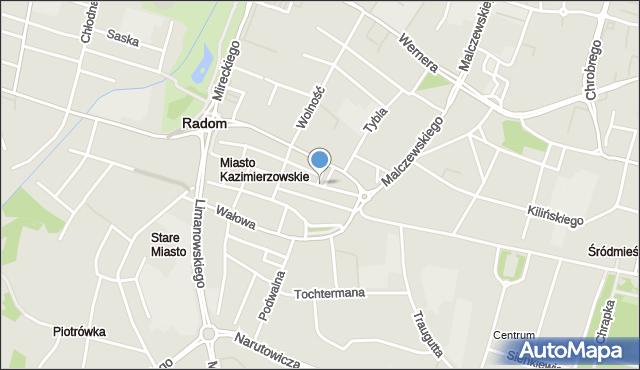 Radom, Szewska, mapa Radomia
