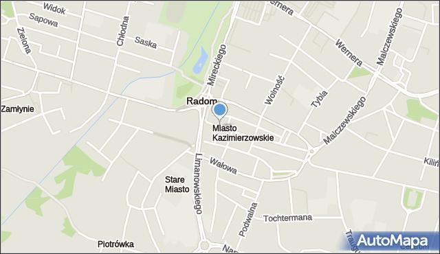 Radom, Szpitalna, mapa Radomia