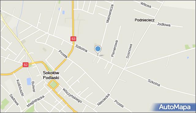 Sokołów Podlaski, Szkolna, mapa Sokołów Podlaski