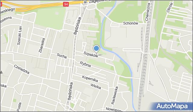 Sosnowiec, Szpaków, mapa Sosnowca