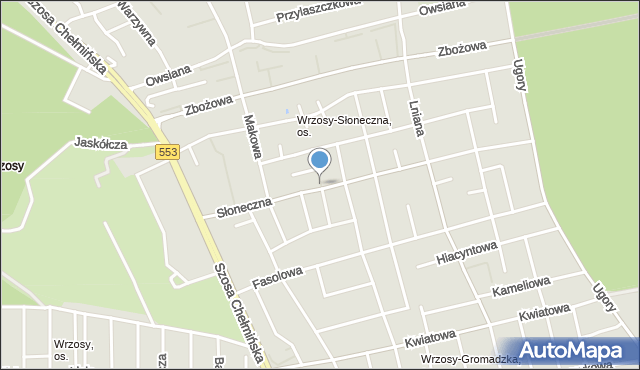 Toruń, Szafranowa, mapa Torunia