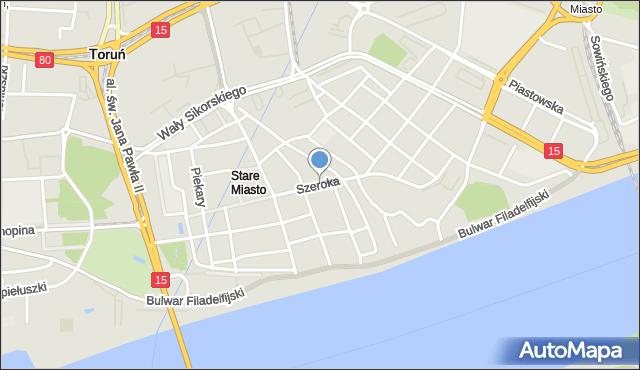Toruń, Szeroka, mapa Torunia
