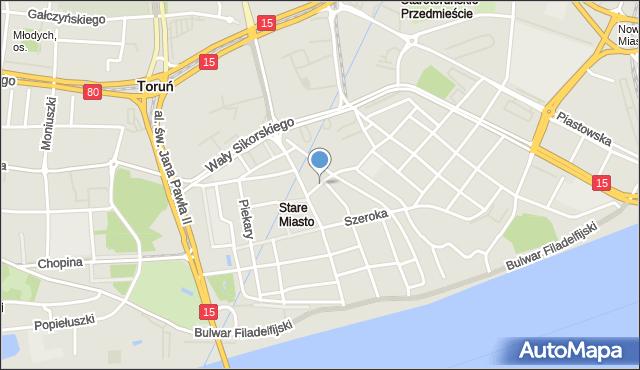 Toruń, Szewska, mapa Torunia