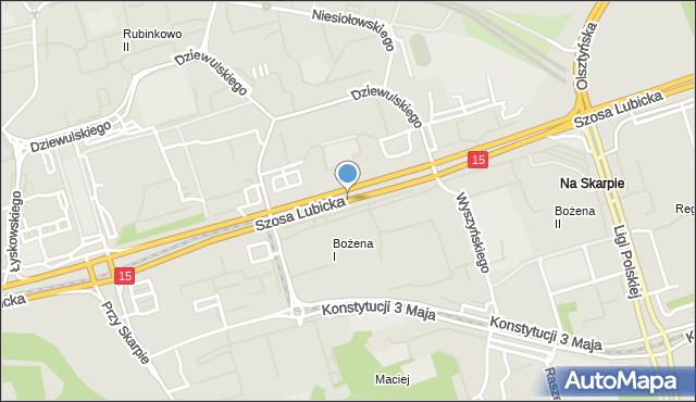 Toruń, Szosa Lubicka, mapa Torunia