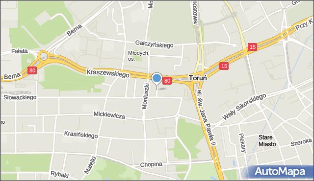 Toruń, Szymanowskiego Karola, mapa Torunia
