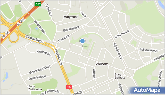 Warszawa, Szczepanowskiego Stanisława, mapa Warszawy