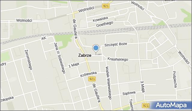 Zabrze, Szymanowskiego Karola, mapa Zabrza