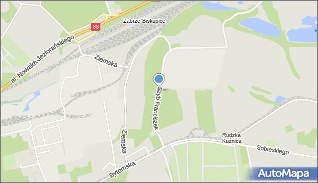 Zabrze, Szyb Franciszek, mapa Zabrza