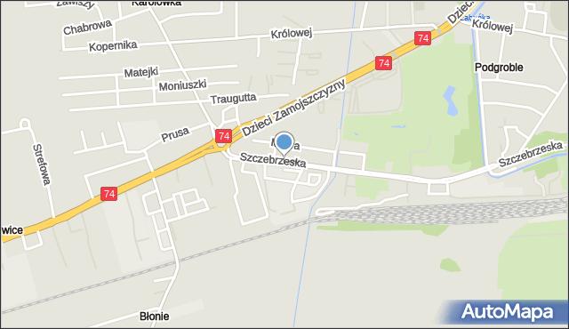 Zamość, Szczebrzeska, mapa Zamościa