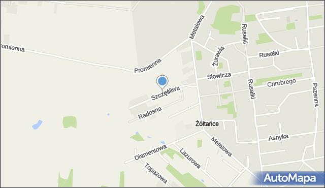 Żółtańce-Kolonia, Szczęśliwa, mapa Żółtańce-Kolonia