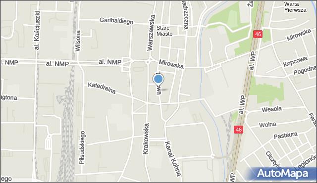Częstochowa, Targowa, mapa Częstochowy