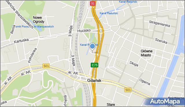 Gdańsk, Targ Sienny, mapa Gdańska