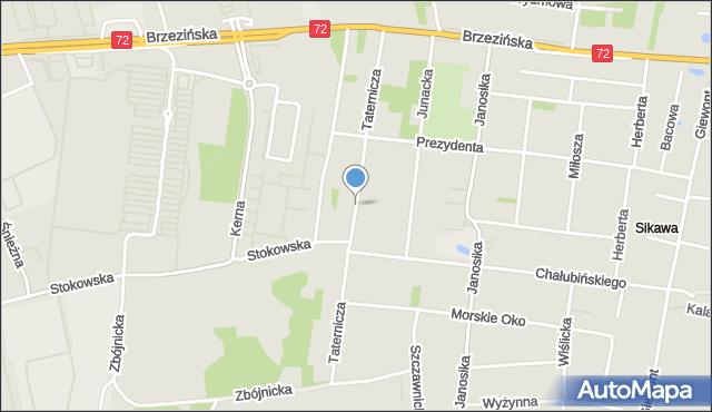 Łódź, Taternicza, mapa Łodzi