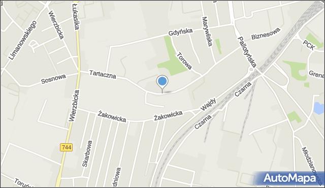 Radom, Tartaczna, mapa Radomia