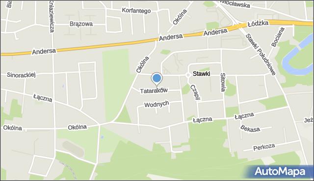 Toruń, Tataraków, mapa Torunia
